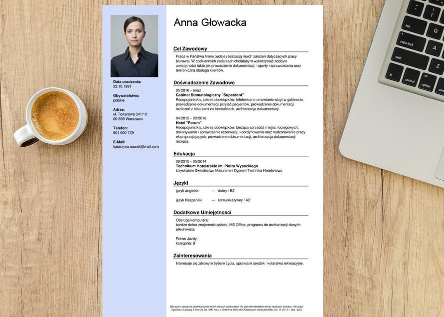 CV napisane przy pomocy kreatora